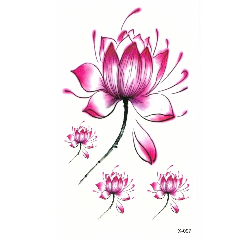 tempor re tattoos lotusbl te blume design temporary klebetattoo ebay. Black Bedroom Furniture Sets. Home Design Ideas