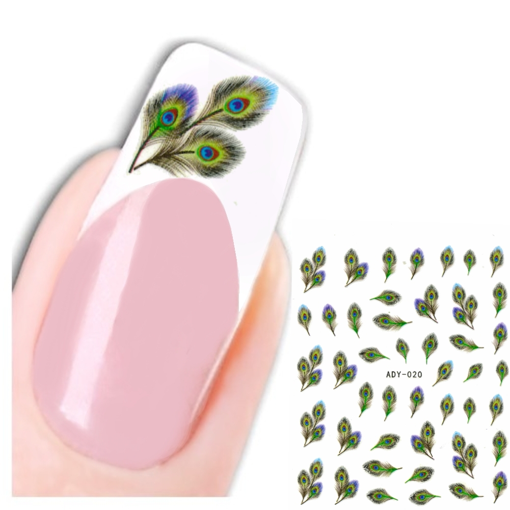 3d nagel sticker nail art pfaufedern aufkleber. Black Bedroom Furniture Sets. Home Design Ideas
