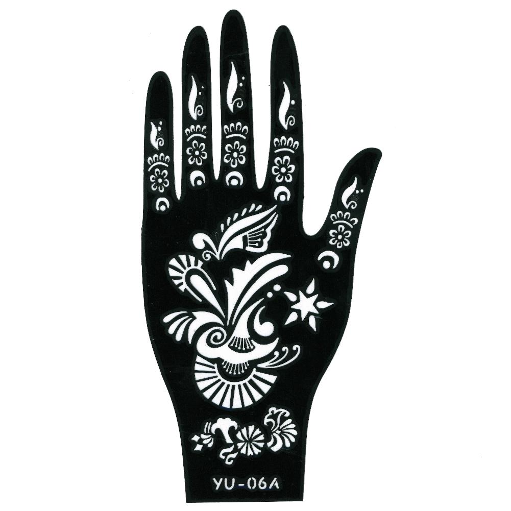 henna tattoo schablone f r die linke hand der onlineshop f r haarschmuck und viel mehr. Black Bedroom Furniture Sets. Home Design Ideas