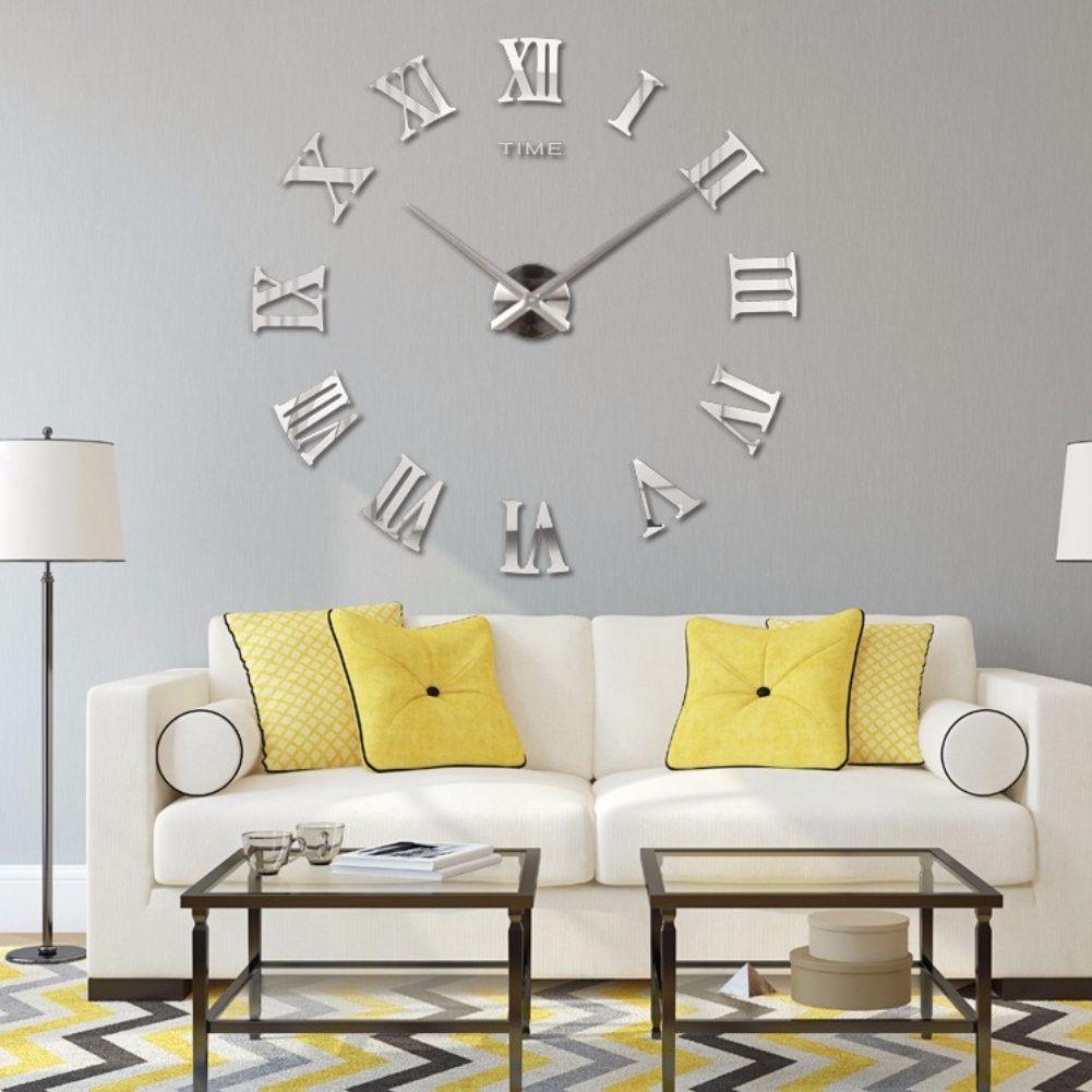 wanduhr xxl deko 3d mit r mischen zahlen in silber der onlineshop f r haarschmuck. Black Bedroom Furniture Sets. Home Design Ideas