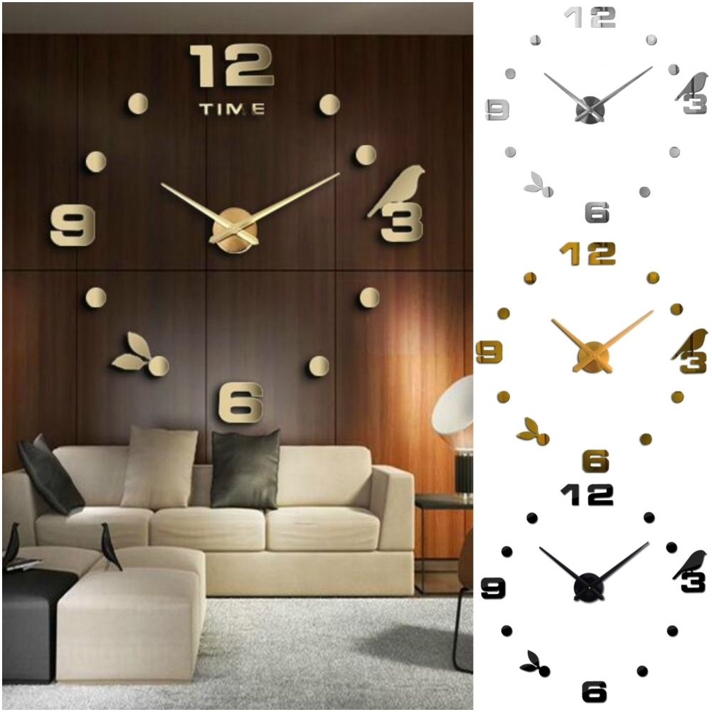 designer wanduhr wohnzimmer wandtattoo design vogel deko xxl 3d ebay. Black Bedroom Furniture Sets. Home Design Ideas