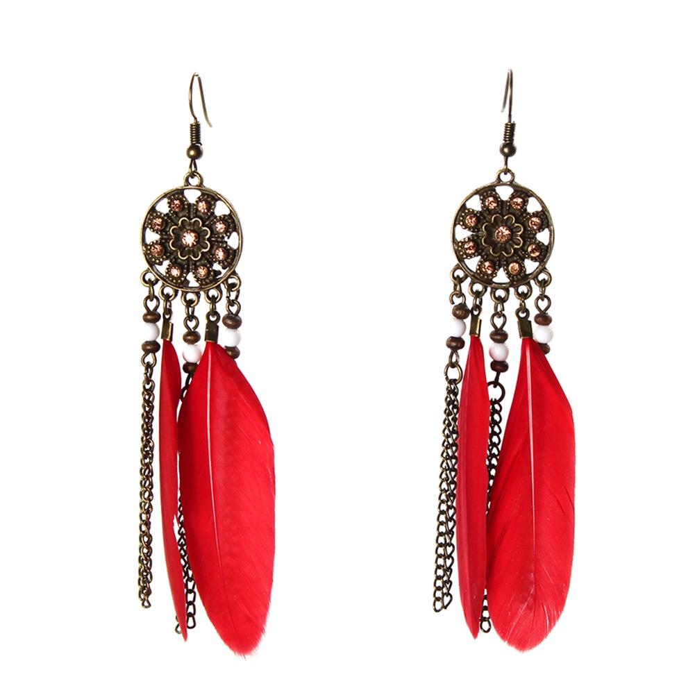 Feder Ohrringe Earring Boho Vintage Ohrhänger Indianer ...