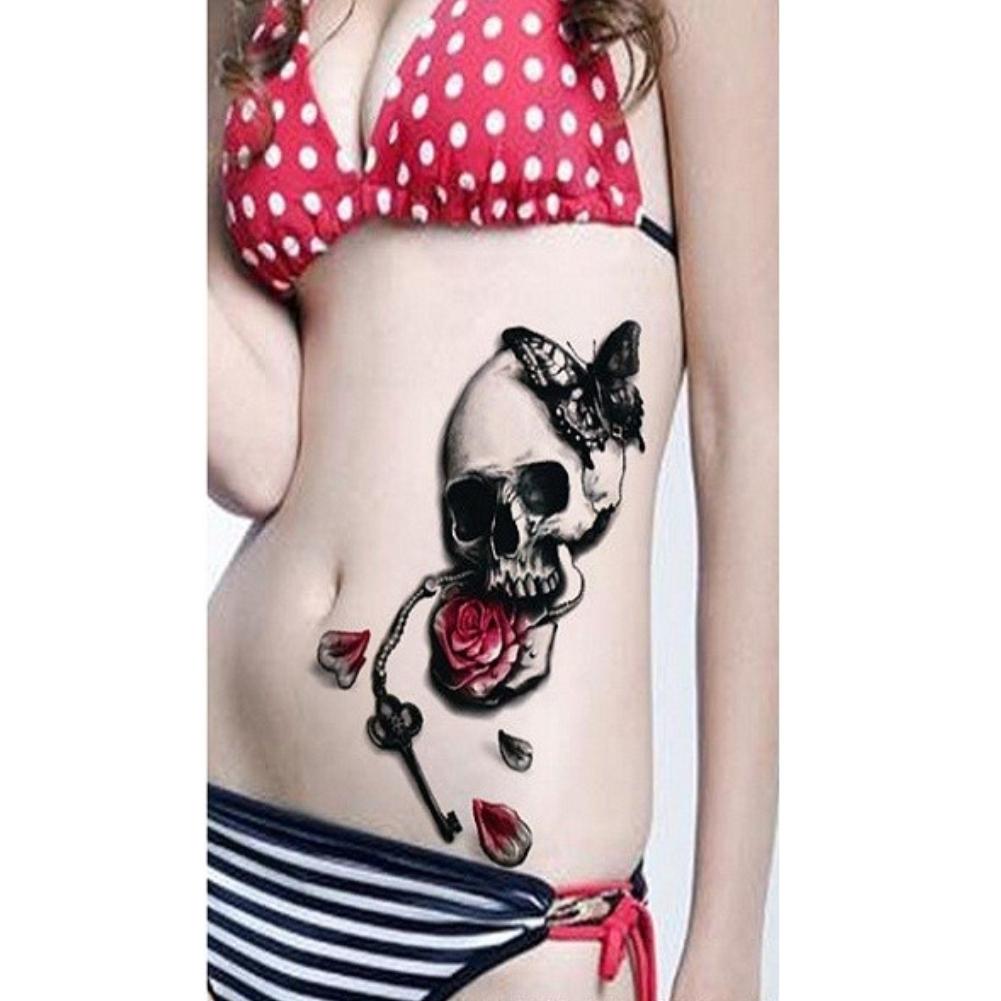 tempor res tattoo totenkopf rosen federn design temporary klebetattoo k rperkunst. Black Bedroom Furniture Sets. Home Design Ideas