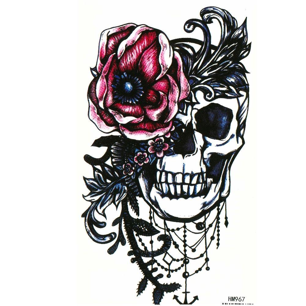 tempor res tattoo totenkopf rosen design temporary klebetattoo k rperkunst ebay. Black Bedroom Furniture Sets. Home Design Ideas