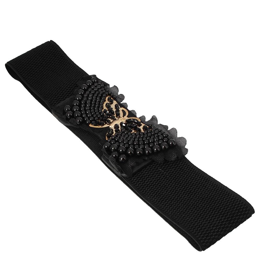 Hüftgürtel Schmetterling Stretch Taillengürtel mit Perlen Buckle Elastic Belt