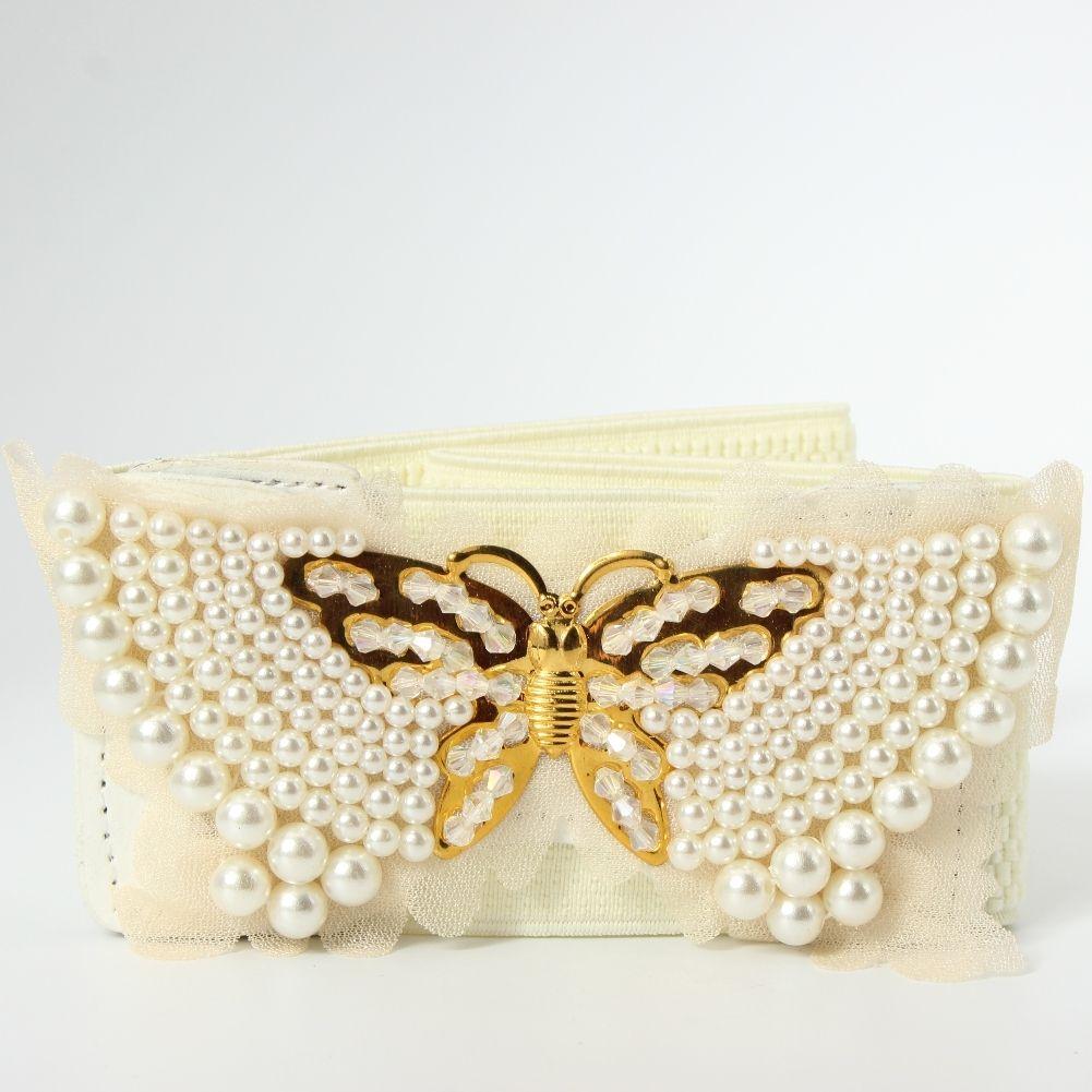 Guaine Farfalla Stretch in vita cintura con perle Buckle ELASTIC BELT