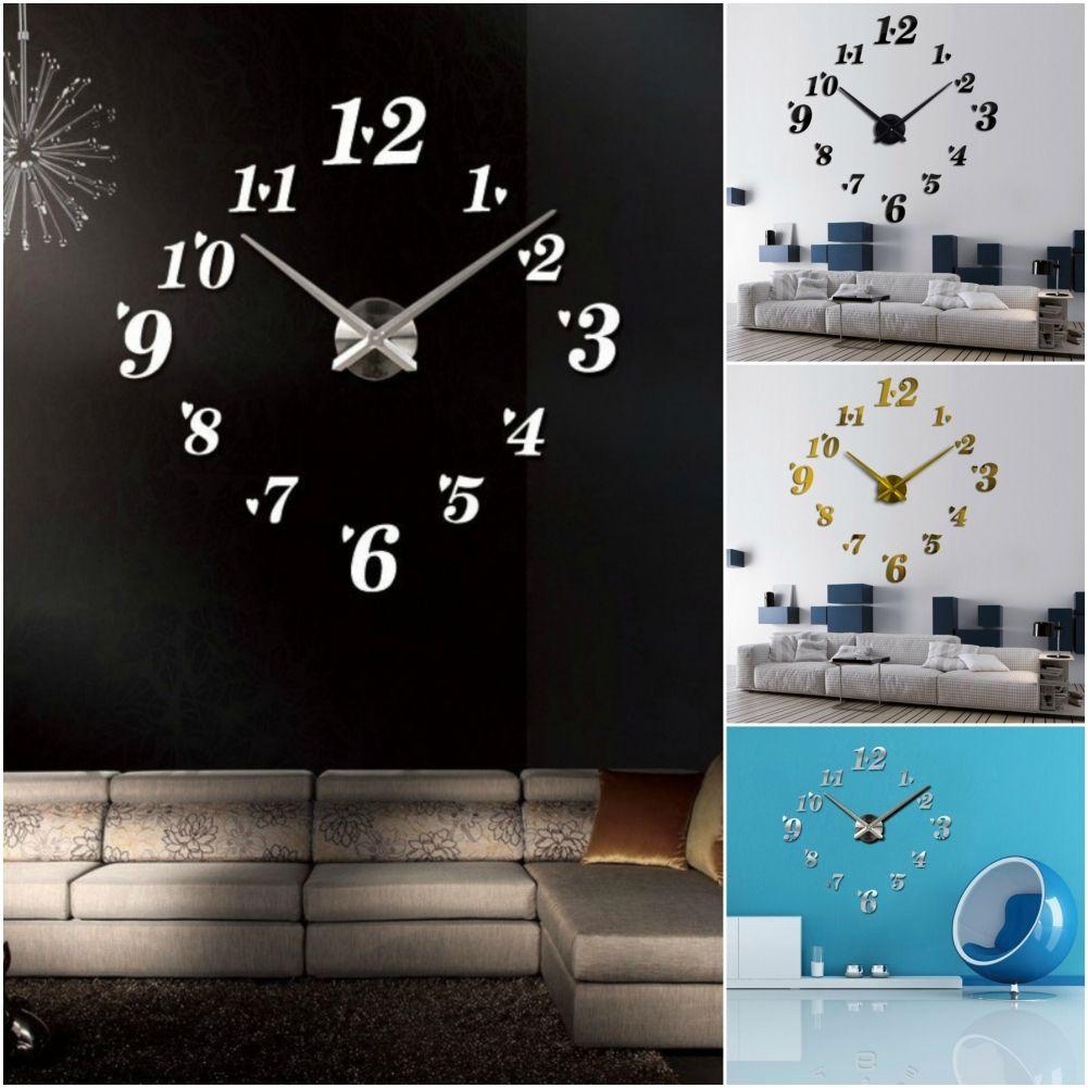 Details zu Designer Wanduhr Wohnzimmer Wandtattoo Design Zifferblatt Zahlen  Deko XXL 3D