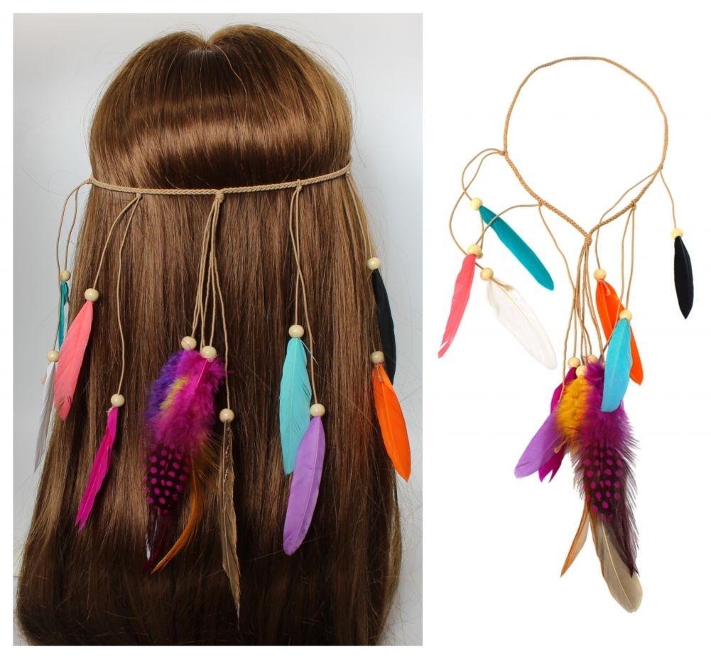 Haarband Haarkette Feder Stirnband Indianer Look Hippie Kopfschmuck Bunt