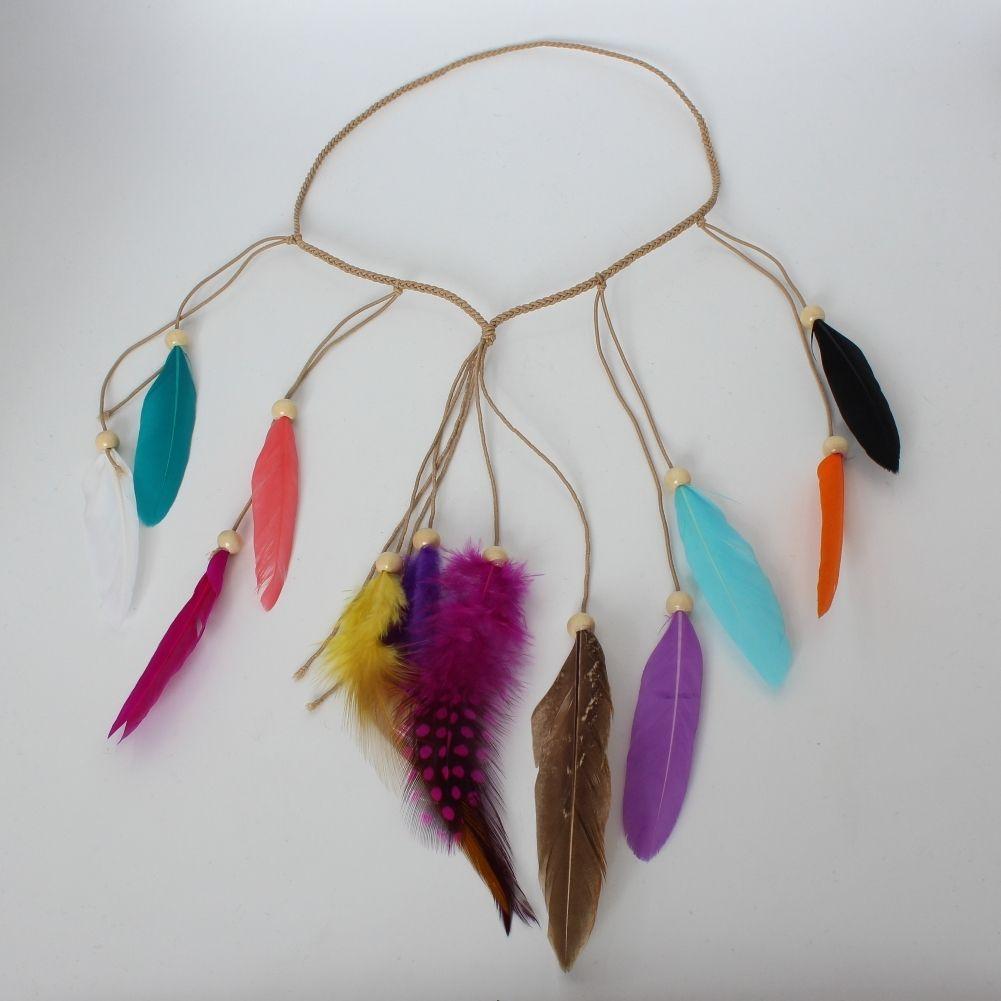 Haarband Haarkette Bunte Feder Stirnband Indianer Look Hippie Kopfschmuck