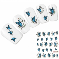 Nagel Sticker Nail Art Tattoo Blauer Schmetterling Aufkleber Neu!