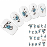 Nagel Sticker Nail Art Tattoo Blau Ornamente Schmetterling Aufkleber Neu!