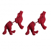3D Wolf Ohrstecker Ohrringe in der Farbe Rot