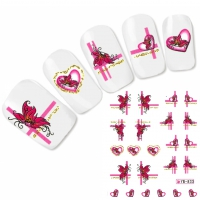 Tattoo Nail Art Herz Schmetterlinge Aufkleber Nagel Sticker