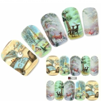 Tattoo Nail Art Rentiere Let it Snow Aufkleber Nagel Sticker