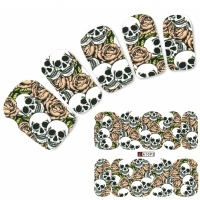 Nagel Sticker Tattoo Nail Art Totenkopf Rosen