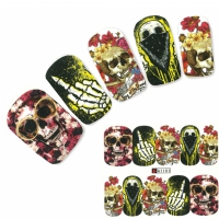 Nagel Sticker Tattoo Nail Art Totenkopf Skelett Finger