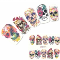 Nagel Sticker Tattoo Nail Art Totenkopf Blumen