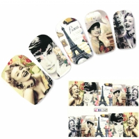 Tattoo Nail Art Eiffelturm Paris Marilyn Aufkleber Nagel Sticker