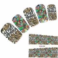 Tattoo Nail Art Tigermuster Afrika Wildnis Aufkleber Nagel Sticker