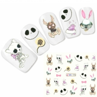 Tattoo Nail Horror Animals Hund Hase Smiley