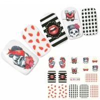 Tattoo Nail Art Totenkopf Rockabilly Lippen