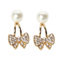 Strass Schleife und Perle Ohrstecker Ohrringe bow earrings