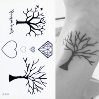 Temporäres Tattoo Herz Diamant Baum Key