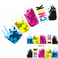 Tattoo Nail Art CMYK-Farbmodell Farbkleckse Nagel Sticker