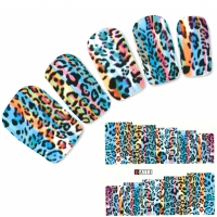 Tattoo Nail Art Tigermuster bunt Afrika Wildnis Nagel Sticker