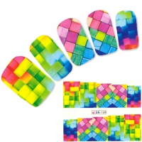 Tattoo Nail Art bunte Quadrat Muster Phantasie Nagel Sticker