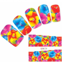 Tattoo Nail bunte Blume Nagel Sticker