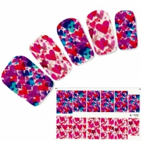 Tattoo Nail bunte Herzen Nagel Sticker