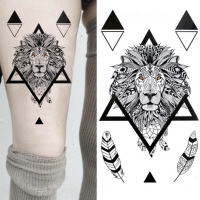 Temporäres Tattoo Löwe Federn Design Temporary Klebetattoo Körperkunst lion