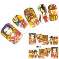 Tattoo Nail Art Japan Manga Girl Blumen Nagel Sticker