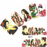 Tattoo Nail Art Japan Manga Blumen Girl Nagel Sticker