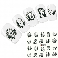 Tattoo Nail Art Marilyn Monroe Schwarz Weiß 1950 er Nagel Sticker