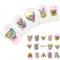 Tattoo Nail Art Tiere Hase Bär Stier Nagel Sticker