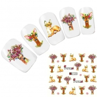 Tattoo Nail Art Aufkleber Hirsch Blume Deer Nagel Sticker