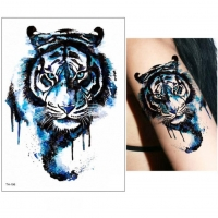 Temporäres Tattoo Blauer Tiger Bunt Design Temporary Klebetattoo Körperkunst