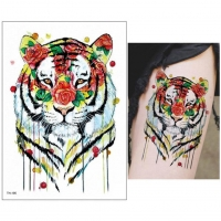 Temporäres Tattoo Tiger Bunt Rosen Design Temporary Klebetattoo Körperkunst