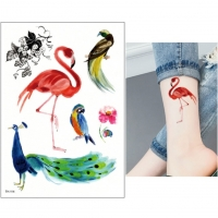 Temporäres Tattoo Flamingo Pfau Papagei Design Temporary Klebetattoo Körperkunst