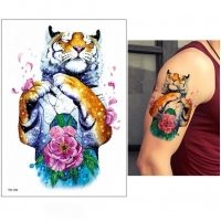 Temporäres Tattoo Tiger Blume Bunt Design Temporary Klebetattoo Körperkunst