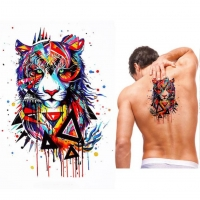 Temporäres Tattoo Tiger Bunt Design Temporary Klebetattoo Körperkunst