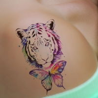 Temporäres Tattoo Tiger Schmetterling Bunt Design Temporary Klebetattoo Körperkunst