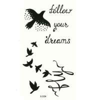Temporäres Tattoo Vogel follow your dreams Design Temporary Klebetattoo Körperkunst